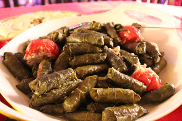 Plate of cooked grape leaves