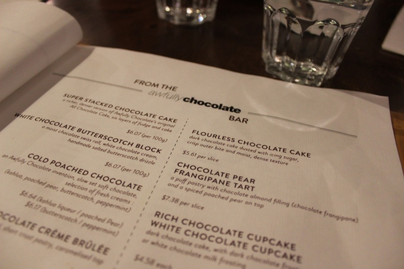 Chocolate menu