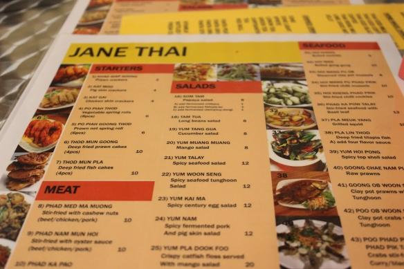Jane Thai Menu